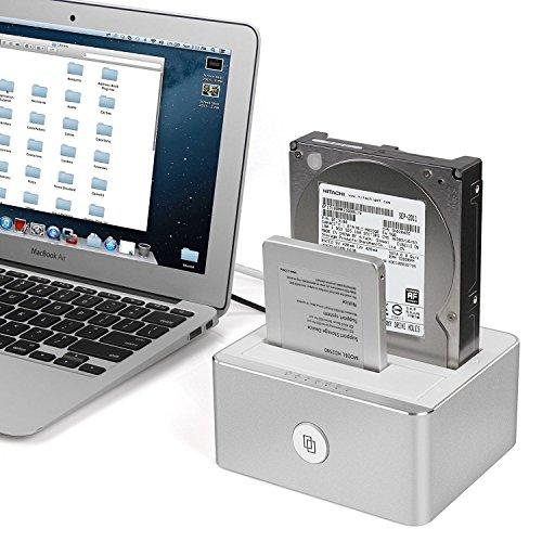 UNITEK Docking Station für 2 Festplatten, 2.5 oder 3.5 Zoll HDD SSD SATA I, II, III (1,5/3/6 GB/S), Offline-Klonfunktion mit LED, Unterstützung von UASP, aluminium, matt
