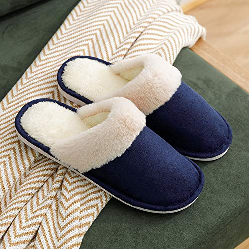 zapatos de casa antideslizantes de algodón lavable,Zapatos caseros de algodón antideslizante, pantuflas felpa suela blanda-azul marino _39-40,Zapatillas de casa Comfort Slippers para hombres