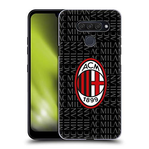Head Case Designs Ufficiale AC Milan Rosso E Grigio Stemma Modelli Cover Dura per Parte Posteriore Compatibile con LG Q60