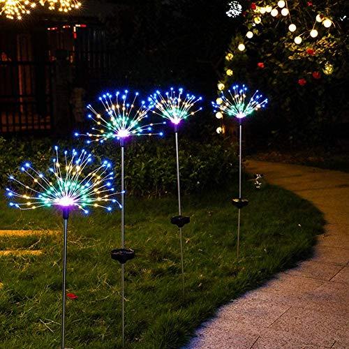 2pcs Solar Feuerwerk Licht,120 LED Draussen Landschaft Licht,2 Blinkmuster 40 wasserdichter Kupferdraht Solarleuchte Garten,verwendet für Innenhof,Terrasse,Rasen, Weihnachtsfeierdekoration(Mehrfarbig)