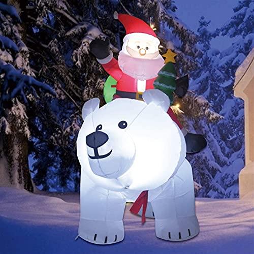 Decoración Navideña Muñeco inflable Los inflables de la Navidad 6ft sacudieron la cabeza del oso de la cabeza con Papá Noel, decoraciones inflables para el patio de las vacaciones al aire libre incorp