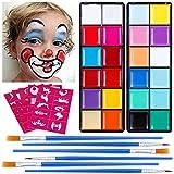 Lictin Pinturas Cara y Corporales-24 Colores + 50 Moldes + 6 Cepillos, Pintura Facial Corporales...
