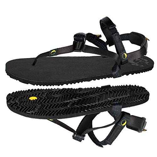LUNA Sandals LEADVILLE PACER | Unisex Lightweight Athletic Sandals 4.45oz | 9mm Vibram Sole | Ideal for Walking, Trail Running, Hiking, Camping, Traveling | Black Huarache Adjustable Fit Sandals (Men's 8/Women's 10)