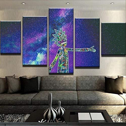 BHJIO Impresiones En Lienzo 5 Piezas Dibujos Animados De Trippy RIC Poster HD En Lienzo Modular Modern Interior Decorations Wall Art-Tamaño Regalo 150 * 80Cm.