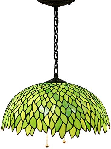 Tiffany Hanging Lamp W16H40 Inch Pendant Light Green Stained Glass Wisteria Shade S523 WERFACTORY product image