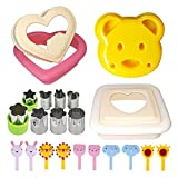 Sandwich Cutter and Sealer with Cookie Cutters, Bread Crust Cutter Remover Uncrustable Maker with Vegetable Fruit Cutters and Food Forks, Perfect for Lunchbox and Bento Box