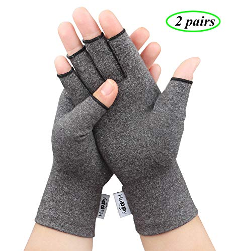 2 Pairs Compression Arthritis Gloves, Fingerless Hand Gloves for Rheumatoid & Osteoarthritis - Joint Pain and Carpel Tunnel Relief-Men & Women (Large-2 Pairs)