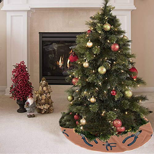 ZHANGhome Weihnachtsbaum Rock niedlichen Cartoon Mode Zangen Werkzeuge drucken Weihnachtsbaum Röcke Clearance Polyester personalisierte Baum Rock Teppich für Party Urlaub Dekorationen Xmas Ornamente