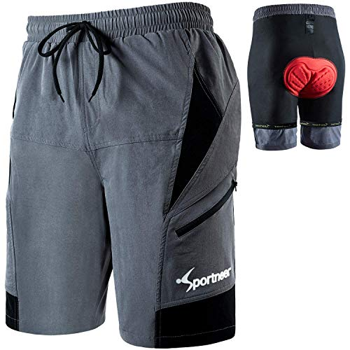 Sportneer Men's Bicycle Shorts, Mountain Bike Shorts with 3D Padded, Breathable and Quick dry, MTB Shorts for Outdoor Cycling Running Gym Training, M Grey