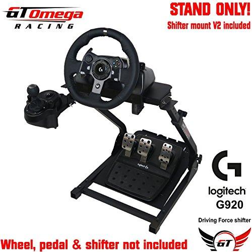 GT Omega Lenkradständer für Logitech G920 Racing Laufrad-, Pedal- & Schalthebelmontagesatz V2, Xbox One, Fanatec Clubsport, faltbar, neigungsverstellbares Design, ultimative Sim Racing Erfahrung