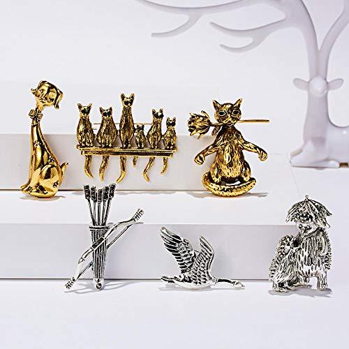 SHAOWU Vintage Bogen Pfeile Brosche Tier Wildgans Vogel Igel Netter Hund Grüne Augen Katzen Brosche Pin Gold Silber Farbe Familie Schmuck Igel