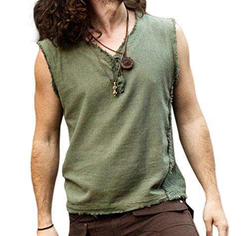 Handmade Green Mens Neo Gypsy Sleeveless Earthy Top T Shirt Branded goods Tank Manufacturer direct delivery