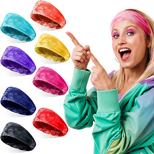 8 Pieces Tie Dye Headbands Wide Boho Turban Head Wraps Elastic Yoga Running Sports Hair Bands Non Slip Sweatbands for Women Girls