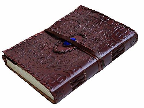 Blauwe Stone Notitieboek, A5, Keltisch leer, notitieboek, dagboek, schetsboek, leer, accessoires, fotoboek, reisdagboek, receptenboek, blue steen, lederen journal