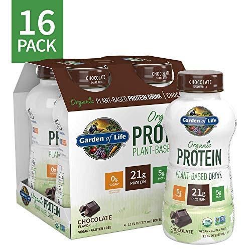 Garden of Life Organic Plant-Based Protein Shake - Chocolate, 16-Pack, Vegan Ready to Drink Protein Shakes, 21g Clean Complete Protein, 5g MCTs, 0g Sugar, 16-11 fl oz Non Dairy Plant Based Drinks