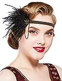 Coucoland - Cinta para el pelo para mujer de los años 20 con colgante de plumas y plumas, para carnaval, disfraz de Gatsby negro y dorado Talla única