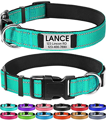 Joytale Personalized Dog Collar with Engraved Slide on ID Tags,Custom Reflective Collars for Large Dogs,Teal,L