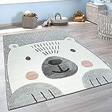 Paco Home Kinderzimmer Spiel Kinder Teppich Grau Weiß Bär Motiv 3-D Design Kurzflor Weich, Grösse:120x170 cm