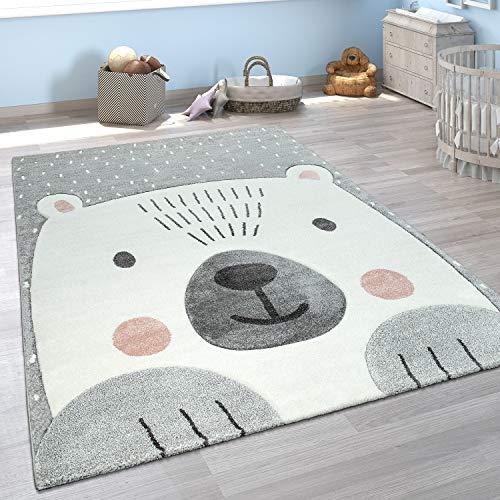 Paco Home Kinderzimmer Spiel Kinder Teppich Grau Weiß Bär Motiv 3-D Design Kurzflor Weich, Grösse:Ø 133 cm Quadrat