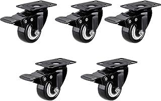 2-inch meubelwielen, rubberen zwenkwielen met rem, stoelvervangende zwenkwielen, doe-het-zelfaccessoires (5 stuks)