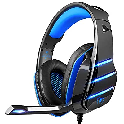 PS4 Gaming Headset with Mic, Beexcellent Newest Deep Bass Stereo Sound Over Ear Headphone with Noise Isolation LED Light for PC Laptop Tablet Mac (Blue) from Beexcellent
