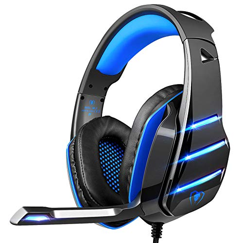 Gaming headset for PS4 Xbox one, Beexcellent Newest Deep Bass Stereo Sound Over Ear Headphone with Noise Isolation LED Light for PC Laptop Tablet Mac (Blue)