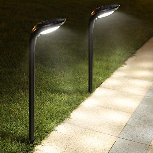 JSOT Luci Solari Esterno, 12 LED Lampade Solari Giardino [Bianco Freddo e Bianco Caldo] 2 Modalità Luce Solare Decorativa per Parete Strade, Giardini, Terrazze - 2 Pezzi