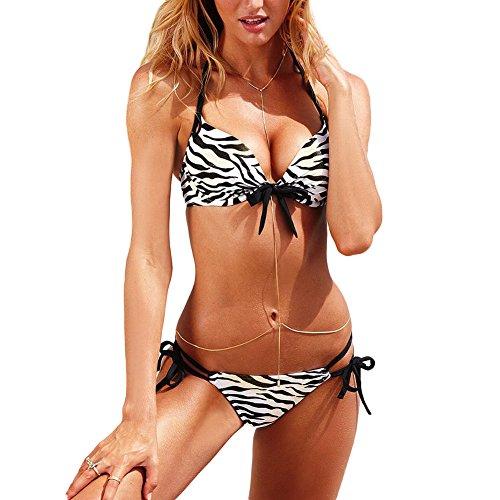 DELEY Frauen Mode Push Up Gepolsterter BH Bikini Set Badeanzug Beachwear Zebra Größe L