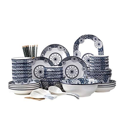 XXDTG Pieza de la Placa de Cena de Porcelana de cerámica Conjunto con Placa de Cena, Placa de Postre, tazón de Cereal, Conjunto (Size : 50Piece of Package)