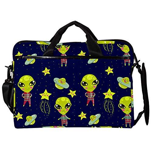 Green Alien Laptop Case Shoulder Bag for Notebook Computer Tablet with Adjustable Shoulder Strap Canvas Messenger Carrying Briefcase Handbag Sleeve for Woman,Man 15x11x1inch