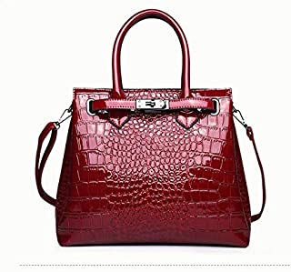 Adebie - 2018 Retro Winter Fashion New Women's Handbag Shoulder Crocodile Pattern Handbags Luxury Large Tote Bag Lock Crossbody Bag Red []