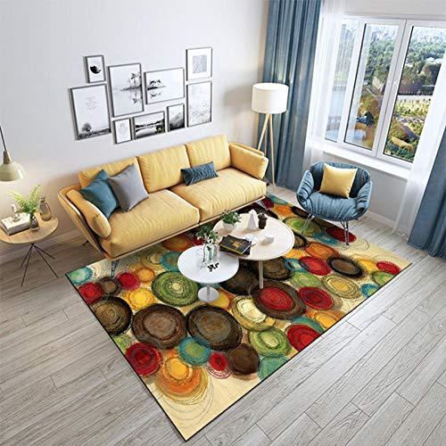 Alfombra De Diseño Moderna Home Alfombra Círculo de colorPara Dormitorio Sala De Estar Comedor Piso Fácil de Limpiar 200x300CM(6'6''x9'8'')