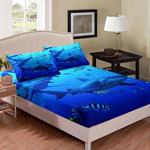 Shark Fitted Queen Sheet Set - 1 x Sheet + 2 x Pillowcases
