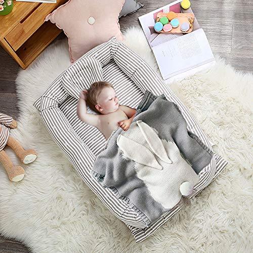 Neugeborenen-Einhang Bionic Bett, Grau Streifen Baumwolle Herausnehmbares Gepolsterter Ränder Schlafkorb Baby Für Schlafzimmer Und Reisen