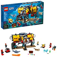 Kids can dive deep into imaginative underwater adventures with this amazing LEGO City 60265 Ocean Exploration Base playset A toy ocean exploration base with interchangeable living and research modules, plus a docking submarine, underwater drone, 5 re...