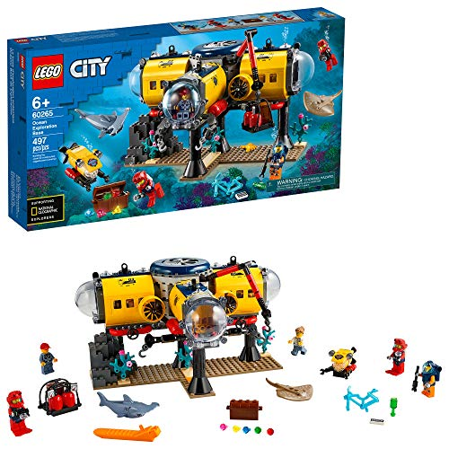LEGO City Ocean Exploration Base Playset 60265, with Submarine, Underwater Drone, Diver, Sub Pilot, Scientist and 2 Diver Minifigures, Plus Stingray and Hammerhead Shark Figures, New 2020 (497 Pieces)