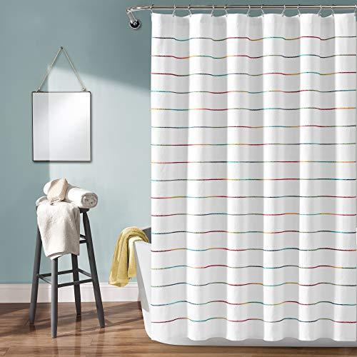"Lush Decor, Rainbow Ombre Stripe Yarn Dyed Cotton Shower Curtain, 72"" x 72"""