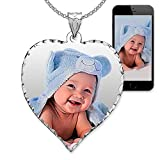PicturesOnGold.com Personalized Photo Engraved Heart Shaped Custom Photo Pendant/Photo Necklace/Photo Charm with Diamond Cut Edge - 3/4 Inch x 3/4 Inch (Sterling Silver) Includes Chain