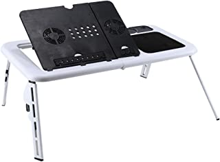 Zerone Plegable Escritorio del Ordenador portátil de múltiples Funciones Bandeja de Vuelta la Cama del Escritorio del Ordenador portátil de la Tabla para Laptop con USB Ventiladores