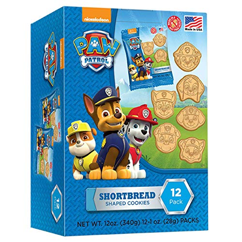 Paw Patrol Shaped Shortbread Cookies Easter Basket Stuffers or Party Favors Snack Packs, 1 oz Bags, Box of 12