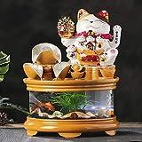 Fuente Agua Feng Shui Fuente de la cascada de cristal del tanque de peces con el gato afortunado, cubierta de cerámica en cascada fuente decorativa for la seguridad del tablero de relajación interior,