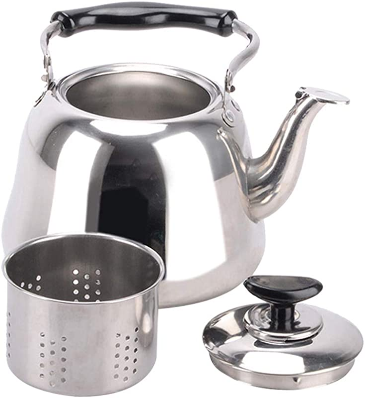 SM SunniMix Whistling Tea Kettle Stainless Steel Stovetop Teakettle Sturdy Teapot Hot Water Coffee Pot For Tea Coffee Fast Boiling With Infuser Silver 3L