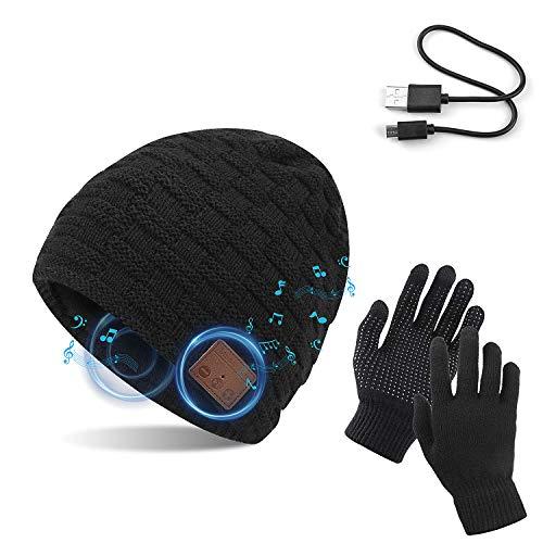 TAGVO Bluetooth V5.0 Beanie mit Touchscreen Handschuhen Set, Winter Verdickung Warm Gestrickte Drahtlose Bluetooth Headset Musikhut Eingebauter Stereolautsprecher und Mikrofon Hut für Laufen Wandern