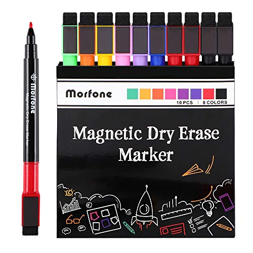Morfone Whiteboard Marker Stift mit Radierer,10 Stück Magnetischer Whiteboard-Stifte mit feine Spitze für Papier, Glas, Kunststoff, Keramik