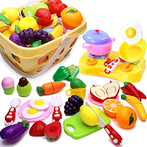 Play Food for Kids Kitchen Cutting Pretend Toy for Toddlers Fruit &Vegetables Accessories with Shopping Storage Basket Educational Toys Children Birthday Gift