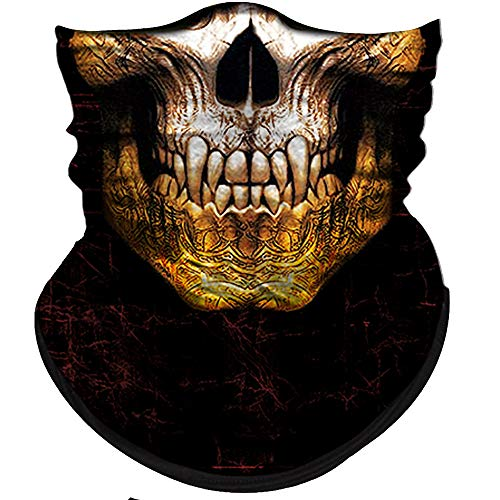 Obacle Skull Face Mask Half for Dust Wind UV Sun Protection Seamless 3D Tube Mask Bandana for Men Women Durable Thin Breathable Skeleton Mask Motorcycle Riding Biker (Skull Tiger Tooth-Gold Chin)