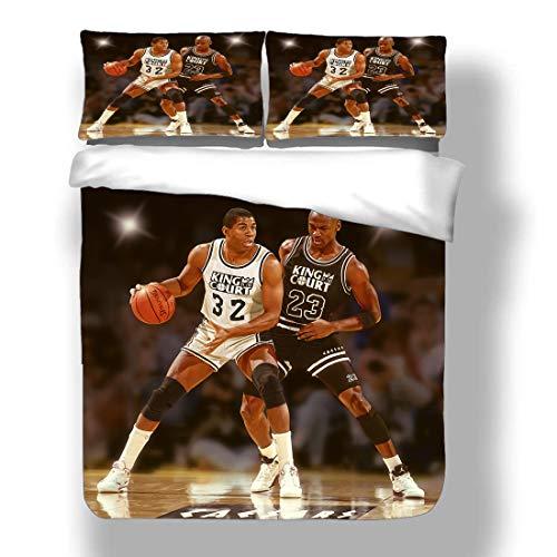 SmallNizi Duvet Cover Set Michael Chicago Basketball Player 23 Bedding Air Jordan Bulls Super Star Bank Shot Power Shooting Quilt Coverlet with 2 Pillow Shams Washington MJ His Airness Wizards
