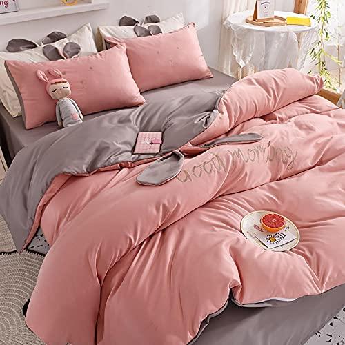 juegos de sábanas infantiles 105,Lave el conjunto de colchas de seda cuatro conjuntos de ropa de verano para el corazón adolescente.-Di_1,8 m la cama (4 piezas) (adecuada para la colcha 200x230)