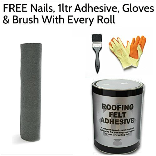 Rose Roofing Green Mineral Premium Shed Roofing Felt with Nails, 1ltr Adhesive, Gloves & Brush 5m