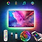 RGB LED Strip Lights,Tv Led Backlight for 40-60 inch Tv Bluetooth App Control Sync to Music, USB Bias Lighting Tv Led Lights Kit with Remote - RGB 5050 LEDs Color Lights for Room Bedroom(3.3ft)